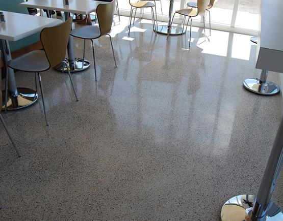 restaurant floor concrete overlay